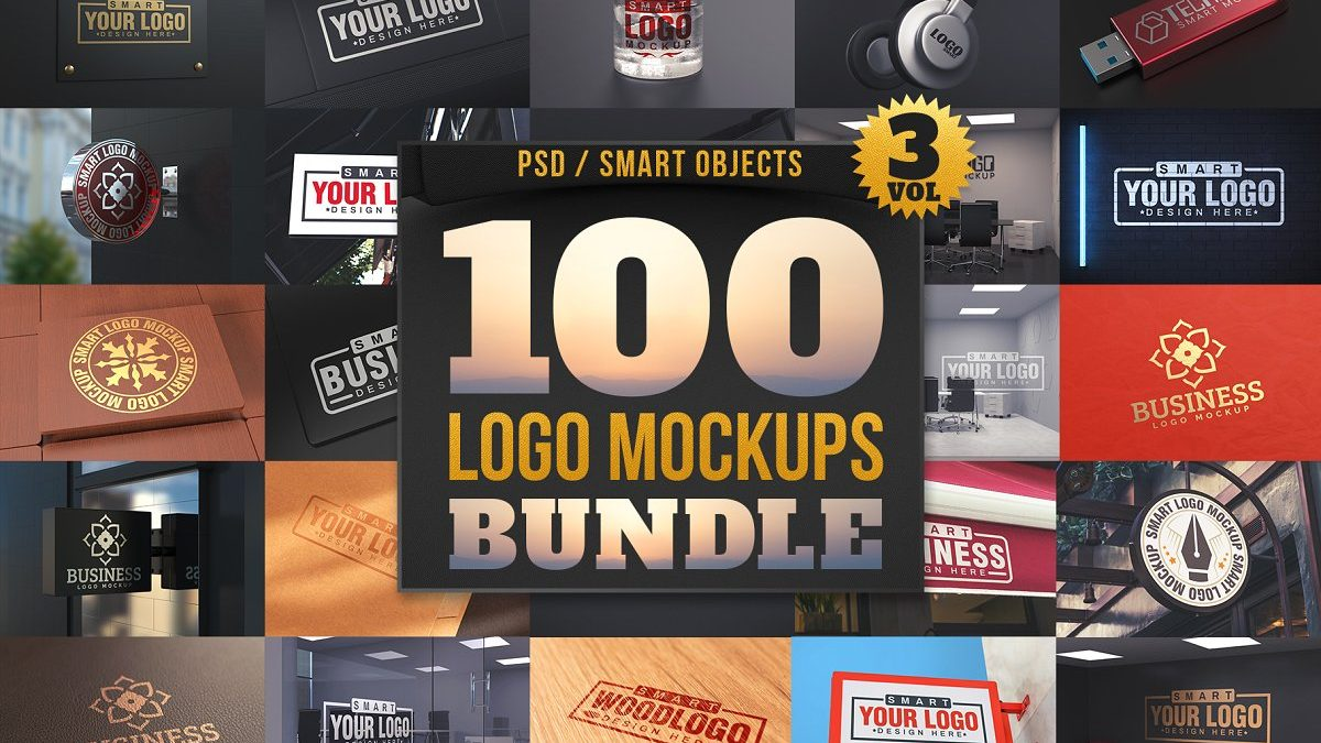 99+ awesome logo mockups bundle - 100 logo mockups bundle 1200x675 - 99+ awesome logo mockups bundle