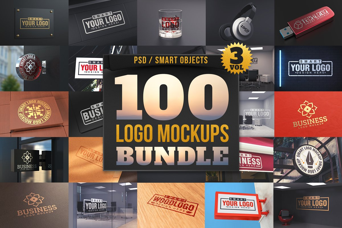 design deals - 100 logo mockups bundle - Awesome design bundle deals for designers!