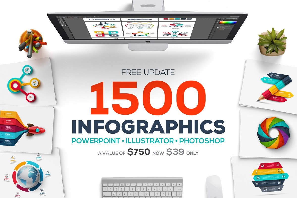 design deals - 1500 infographics templates presentation - Awesome design bundle deals for designers!