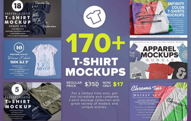 170+ massive t-shirt mockups bundle - 170 660x420 - 170+ Massive T-Shirt Mockups Bundle