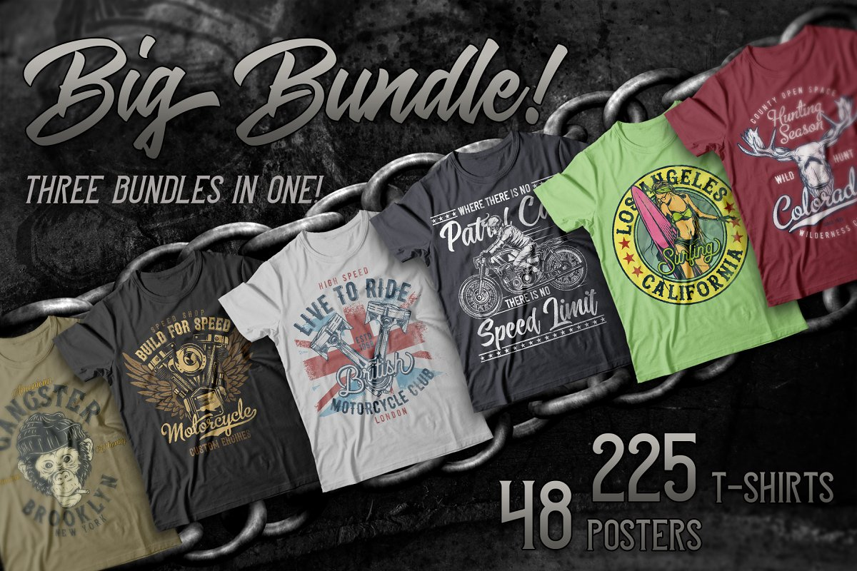 design deals - 250 t shirt designs mega pack - Awesome design bundle deals for designers!
