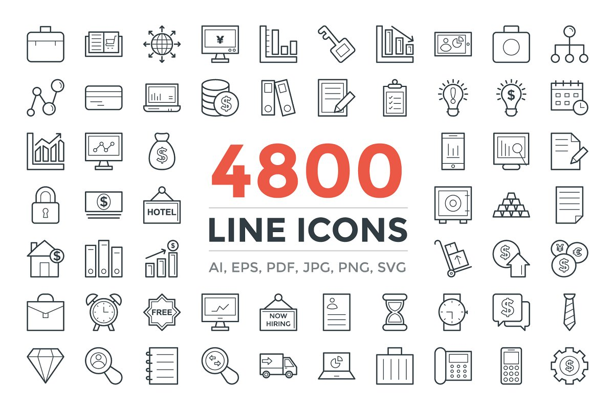 design deals - 4800 unique line icons pack - Awesome design bundle deals for designers!
