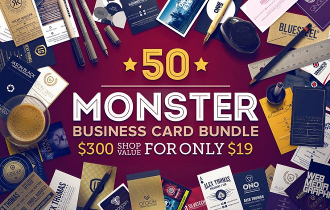 50 business cards monster bundle - 50 monster business cards bundle 660x420 - 50 Business cards monster bundle