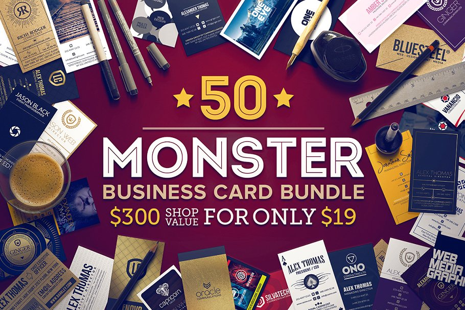50 business cards monster bundle - 50 monster business cards bundle - 50 Business cards monster bundle