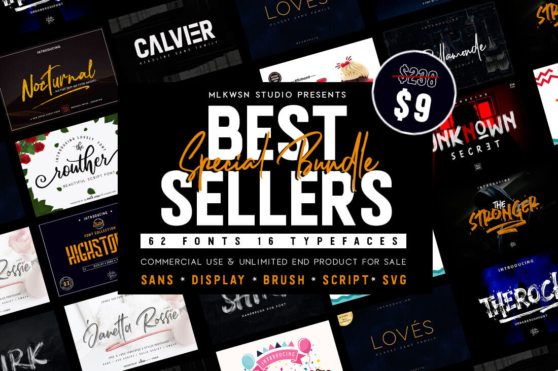 design deals - 62 fonts bundle - Awesome design bundle deals for designers!
