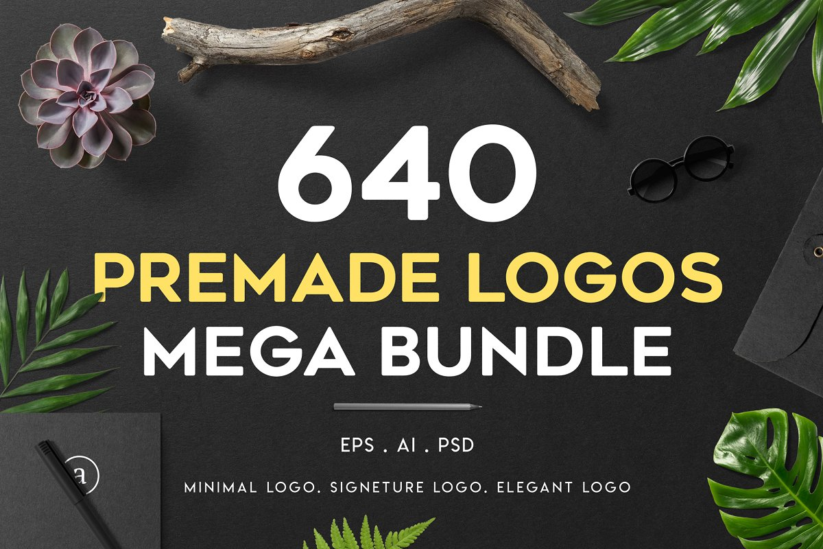 design deals - 640 premade logo mega bundle - Awesome design bundle deals for designers!
