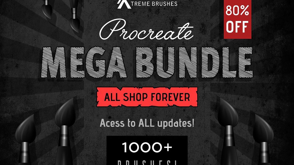 - Procreate MEGA bundle 1000 brushes 1200x675 - Procreate MEGA bundle! (1000+ brushes)
