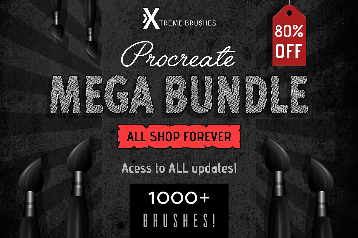design deals - Procreate MEGA bundle 1000 brushes - Awesome design bundle deals for designers!