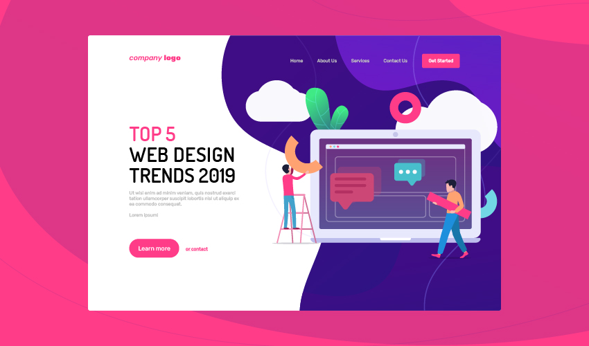 top 5 web design trends in 2019 - Web design trends 2019 illustration gradients loadspeed mobile first 100 - Top 5 web design trends in 2019
