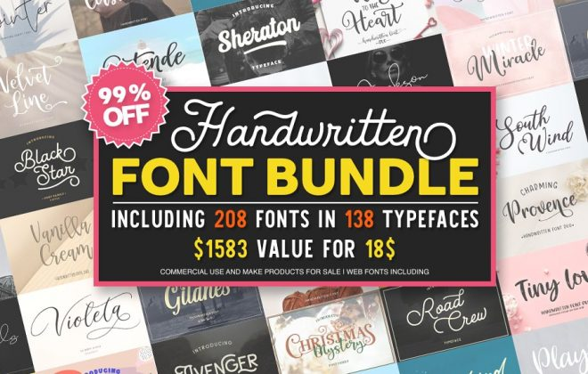 - font bundle 99 off larin 660x420 - 200+ Handwritten Fonts bundle by Larin Type Co.