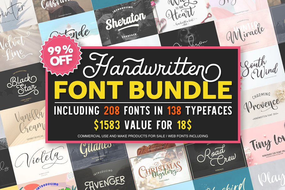 - font bundle 99 off larin - 200+ Handwritten Fonts bundle by Larin Type Co.