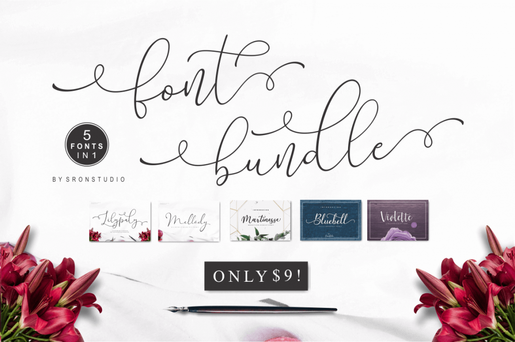 beautiful calligraphy and script fonts - fontbundle2 1024x681 - 5 Great Calligraphy & Script Fonts by Sronstudio
