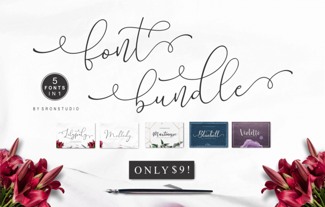 beautiful calligraphy and script fonts - fontbundle2 660x420 - 5 Great Calligraphy & Script Fonts by Sronstudio