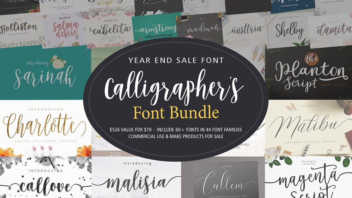 60+ calligraphy fonts bundle - genesislab font bundle typography 1200x675 - 60+ Calligraphy Fonts Bundle