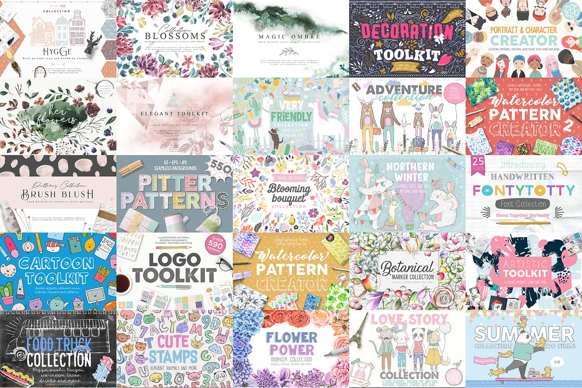 design deals - giant illustration bundle 16300 assets - Awesome design bundle deals for designers!