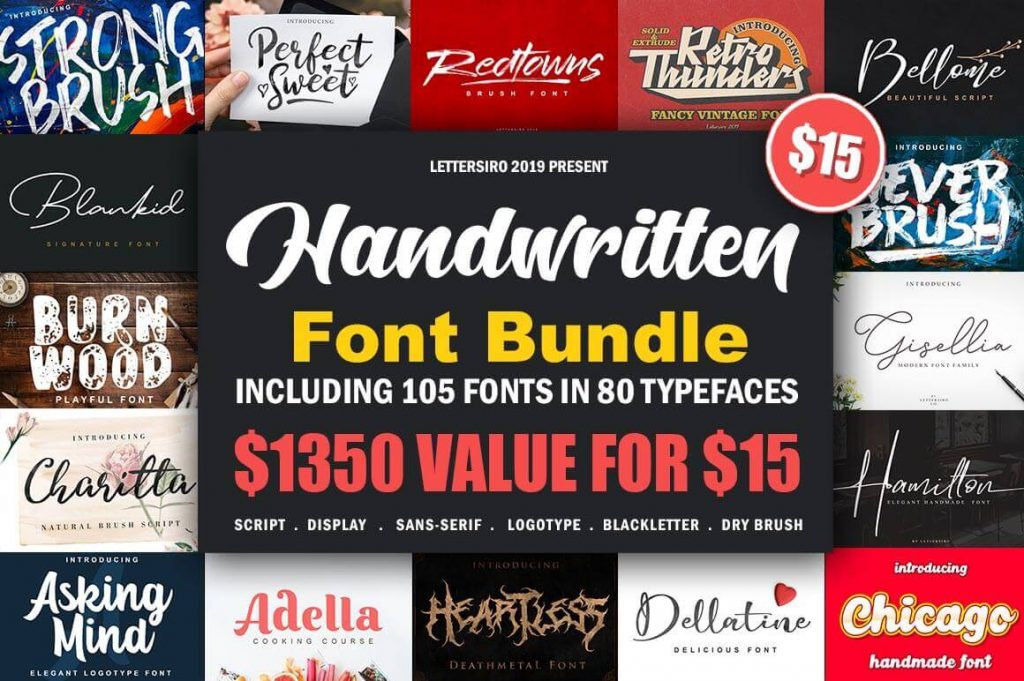 - lettersiro bundle 1024x681 - 100+ Handwritten Fonts: The Lettersiro Collection
