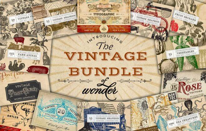 vintage bundle by wonder graphics - vintage bundle 660x420 - Vintage Bundle by Wonder Graphics