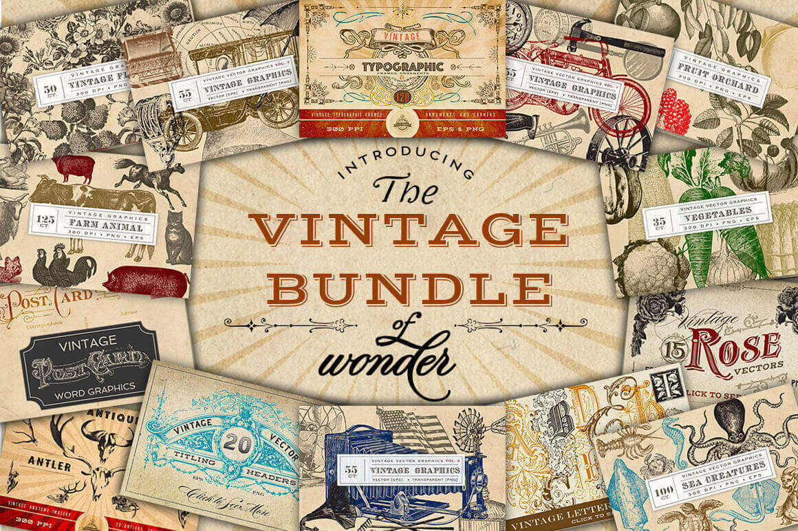 design deals - vintage bundle - Awesome design bundle deals for designers!